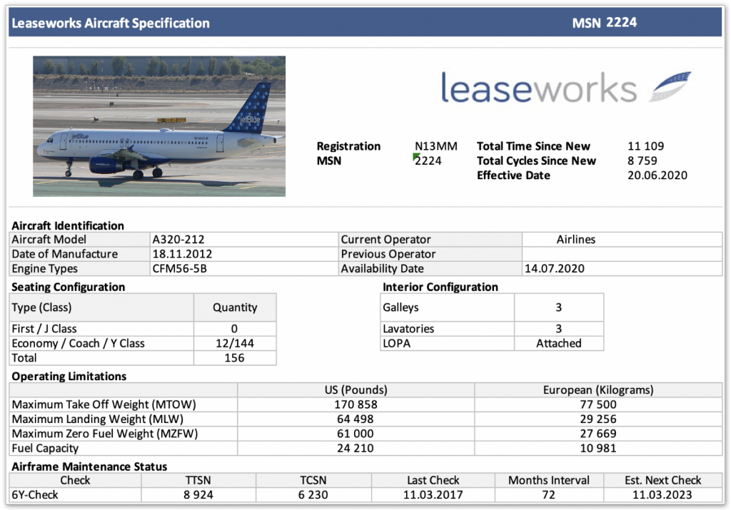 Screenshot of LeaseWorks spec sheet generator